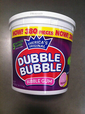 DUBBLE BUBBLE BubbleGum 1 HUGE TUB - 380 Ct - 5 Fruitastic Flavors Mix  FREE SHP