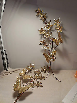 Vintage Pair Home Interior Gold Metal Ivy Leaves and Butterflies