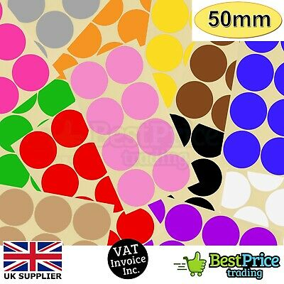 16 x 50mm Coloured DOT STICKERS Round Sticky Adhesive Spot Circles Paper Labels