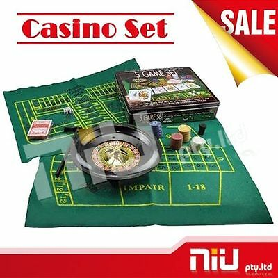 5 IN 1 Casino Game Set Roulette, Poker, Black Jack, Craps, Poker Dice Party Game