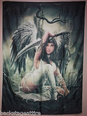 "Anne Stokes Angel Defender Warrior Sword 29x42"" Cloth Fabric Poster Flag Art-New"
