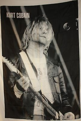 KURT COBAIN NIRVANA Live B/W Cloth Fabric Poster Flag Tapestry Wall Banner-New!