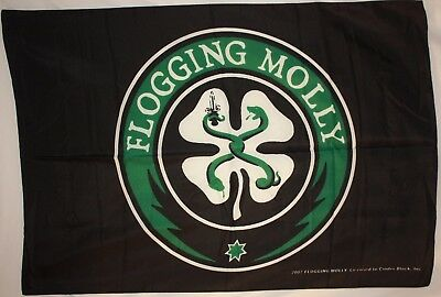 "FLOGGING MOLLY Shamrock 29""X43"" Black Cloth Fabric Poster Flag Banner New!"