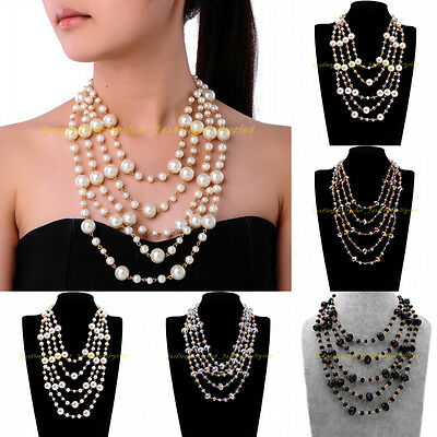Fashion Jewelry Charm Layers Chain Multicolors Resin Crystal Pearl Bib Necklace