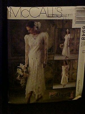 1994 McCall's Alicyn Exclusives Lady's Bridal Dress Pattern 6948 Sz 12