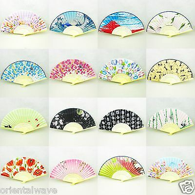 50 PCS  Chinese/Japanese Silk Bamboo Pocket Hand Flower Fans Wholesale Lots New