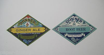 2 Donner Ginger Ale & Root Beer Soda Labels Truckee, CA - FREE Shipping