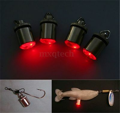 Mini LED Deep Drop Underwater Fishing Squid Fish Lure Light Flashing Lamp Red