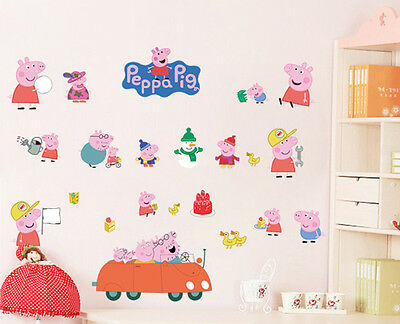 Peppa Pig Wall Removable Stickers Nursery Kids Baby Bedroom Art Decal Decor