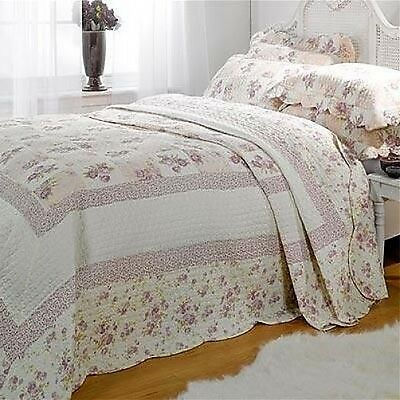 Double Lilac Floral Patchwork Quilted Bedspread Throw + 2 Pillow Shams
