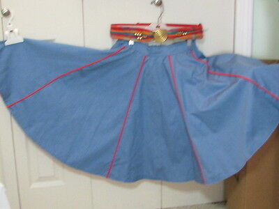 Pitchfork Brand Red Blouse with Blue and Red Skirt and Belt for Sq Dancing