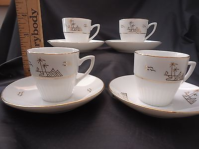 4 Sets Of Porcelain Espresso Tea Cups, Handpainted Gold Bird, Tree And Mountains