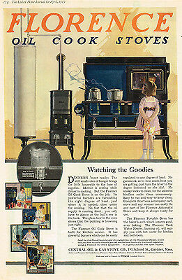1919 AD Florence Oil Cook Stoves-Central Oil & Gas Stove Gardner, MA-Grout art