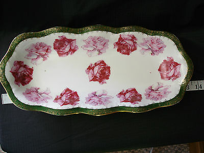 VINTAGE PORCELAIN CELERY DISH FROM MIGNON BAVARIA GREEN WITH LARGE PINK ROSES