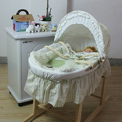 Green Baby Carrier Moses Basket Bassinet w Rocking Stand & Cotton waffle Bedding