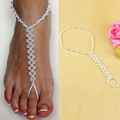 White Pearl Foot Anklet Beach Bridal Barefoot toe ring foot jewellery