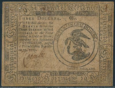 #cc-13 Xf+ Continental Currency Note $3 Nov 19,1775 Br5636