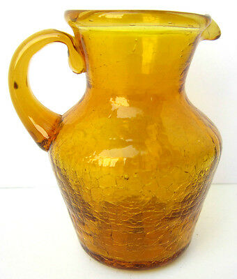 """Vintage Amber CRACKLE GLASS Hand Blown 3.75"""" Applied Handle Pitcher"""