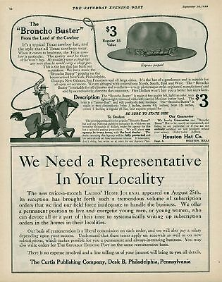 1910 AD Houston hat-cowboy with lasso   advertising