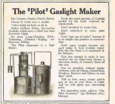 1909 AD The Pilot Gaslight Maker-energy for gas amps advertising