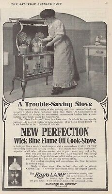 1909 AD New Perfection Wick Blue Flame Oil Cook Stove
