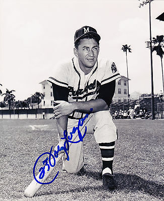JOHNNY LOGAN  MILWAUKEE BRAVES  ACTION SIGNED 8x10