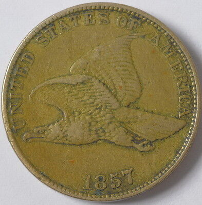 1857 United States Flying Eagle 1c One Cent Penny Extra Fine XF Coin