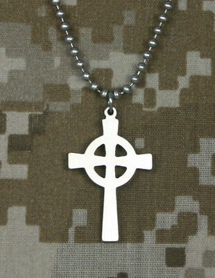 Official U.S. Military CELTIC CROSS GI Jewelry Stainless Steel Necklace