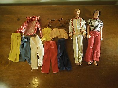 Vintage 1968 Lot of 2 Ken Dolls & Doll Clothes for Ken-Malibu & Brown Hair Ken