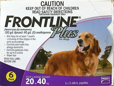 Frontline Plus For Dogs 45-88lbs 6 Months Supply Merial NOT KIT! NIB