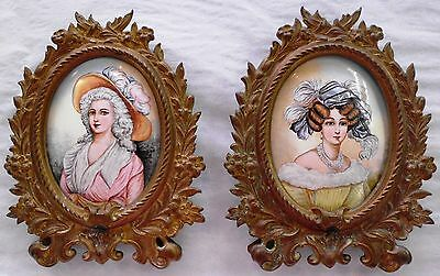 Pair Of 19 Th Century Enamel On Copper Portraits - Reduced Price