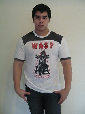 W.A.S.P Wild Child'85 Metal Band Ringer T-Shirt Jersey Men White Gray 100%Cotton