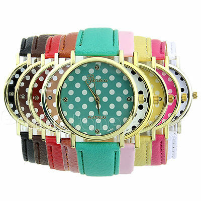 Stylish Leather Band Round Dial Quartz Analog Girl Student Sport Wristwatch