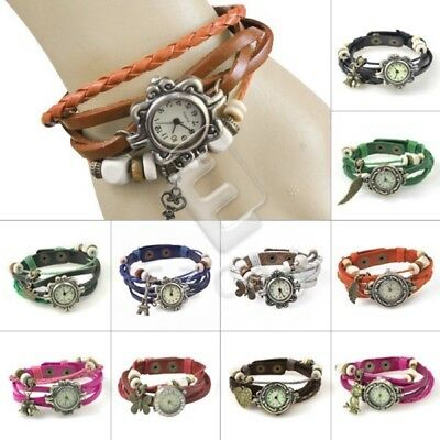 Retro Faux Leather Weave Wrap Bangle Quartz Wristband Bracelet Wristwatch