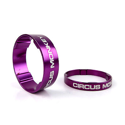 "Circus Monkey Alloy Bike Cycling 1-1/8"" Stem Headset Spacer 5mm + 10mm - Purple"