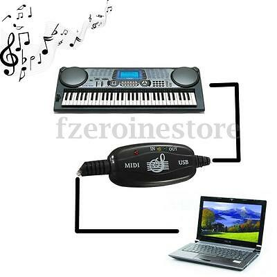 USB to Midi Interface Piano Keyboard Cable Converter Adapter Music Cord For PC