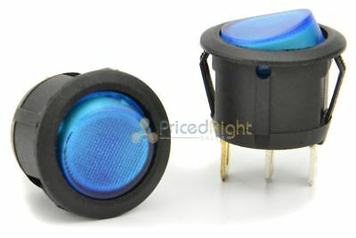 12 Volt Round 3 Prong Blue LED Rocker Switch SPST Toggle Switch 12V