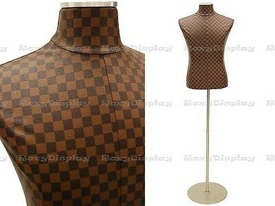 Male Brown Checker Pattern PU leather cover Body Form #JF-33M01PU-CHK+BS-04