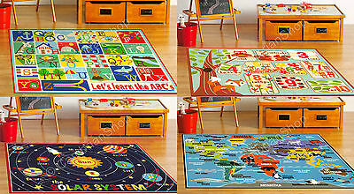 Teach Me Education Rug Numbers Counting Alphabet Solar System Space World Atlas
