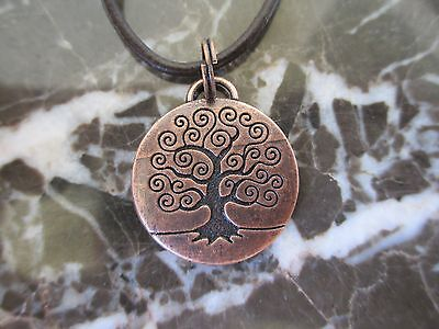 Wicca Celtic Copper Tree of Life Medallion Charm Pendant Leather  Necklace