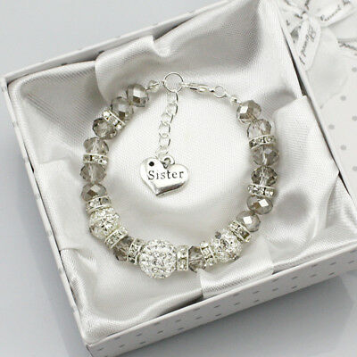 gray Personalised Girl Wedding Gift Crystal Charm Bracelet made for you With Bag