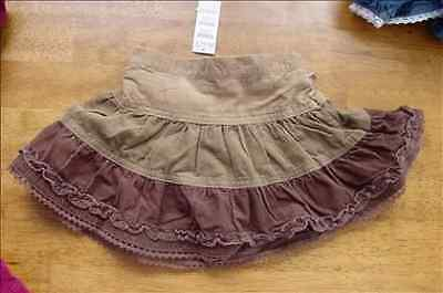 The Children/'s Place Girls Tiered Cord Skirt Skort 6-9m Brown Pippi Styl NWT New