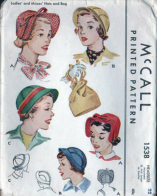 """1950 Vintage McCALL Sewing Pattern - Set of Hats & Bag - Size 22"""" - Mostly Uncut"""