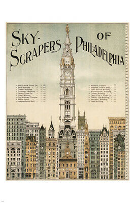 SKYSCRAPERS OF PHILADELPHIA landmarks poster 1898 24X36 collectors HISTORIC