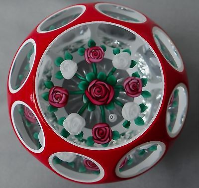 RAY BANFORD PAPERWEIGHT DOUBLE OVERLAY FACETED ROSES