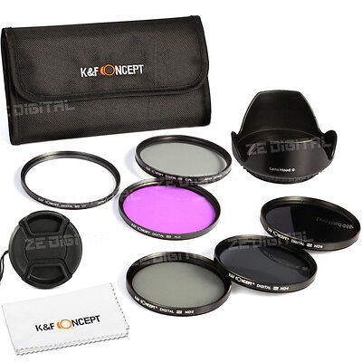 49 to 77 UV CPL FLD ND2 ND4 ND8 Lens Filter Kit Hood Cap For Canon Nikon Tamron