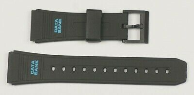 QUALITY CASIO Data bank watch strap band 22mm black rubber straps new vintage