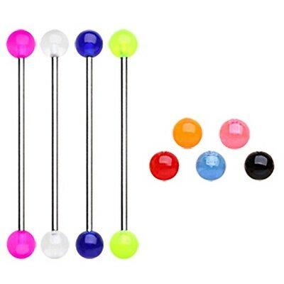 New Surgical Steel Scaffold Industrial Piercing Bar with Colour Acrylic Balls