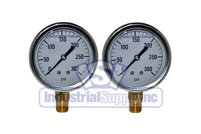 "2-Pk 0-300 psi 2.5"" Hydraulic-Air-Water Pressure Gauge"
