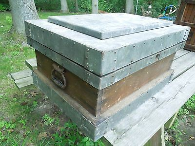 Vintage Wood & Metal Strongbox Treasure Chest Trunk Industrial Chic Style
